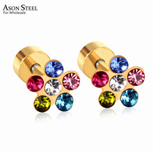 ASONSTEEL Colorful Cubic Zironia Flower Earrings for Kid/Girl/Baby Mixed Style Stainless SteelEarring Fashion Jewelry Party