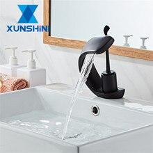 цена на XUNSHINI Basin Faucet Cold&Hot Waterfall Contemporary Chrome Brass Bathroom Basin Sink Mixer Deck Mounted Waterfall Tap