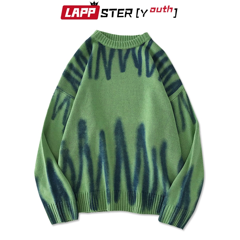 LAPPSTER-Youth Men Korean Fashions Sweaters Pullovers 2020 Mens Streetwear Fashions Oversized Knitted Sweater Fall Oversize Tops
