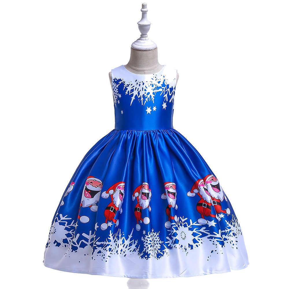 Vestido de Navidad para niñas vestido de Navidad de Santa Claus con estampado de satén de nieve para niños vestido de princesa de fiesta de cumpleaños para niñas