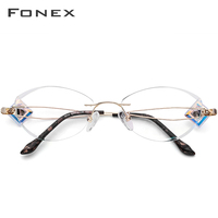 FONEX Wire Titanium Rimless Glasses Women High Quality Eyeglasses Frame Diamond Trimming Cut Myopia Optical Eyewear 7714