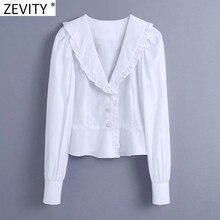 Zevity – chemisier blanc en dentelle Agaric pour femmes, manches bouffantes, boutons en diamant, Chic, bureau, LS7709
