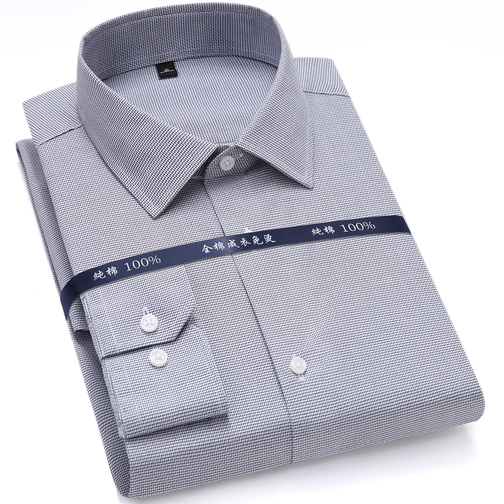 High Quality Mens Formal Dress Shirts Long Sleeve White Pure Cotton Business Slim Fit Plus Size Office Shirt Non Iron Blouse