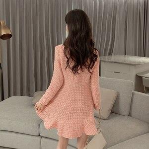 Image 4 - Zoete Roze Jurk Lange Mouwen Koreaanse Stijl Knoppen Mini Dikke Winter Jurk Vrouwen Goede Kwaliteit Ruche Kawaii Vintage Vestido Mujer