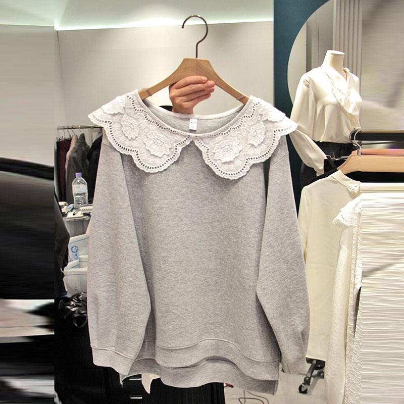 Korean Style Hoody Lace Wild Sweatshirts Women 2019 Autumn New Casual Fashion Ladies Sweatshirts Solid Color Tops Female