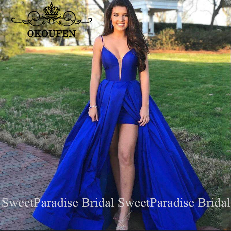 Royal Blue Satin Bridesmaid Dresses Vestido Madrinha Sexy Backless Side Split Long Maid Of Honor Wedding Guest Dress