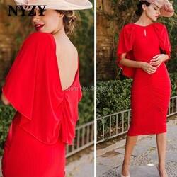 Лайкра чай Длина накидка рукава мать невесты жениха платья Красный NYZY C214 Свадебная вечеринка формальное платье халат Soiree 2019