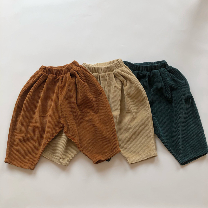 Kids Casual Elastic Waist Pant Solid Color Cotton Corduroy Trousers Korean Style Baby Boys Girls Pants Children's Clothing 6