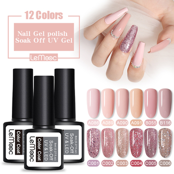 LEMOOC 8ml UV Gel Nail Polish Rose Gold Glitter Sequins Lak Professional Color Varnish Soak Off Art