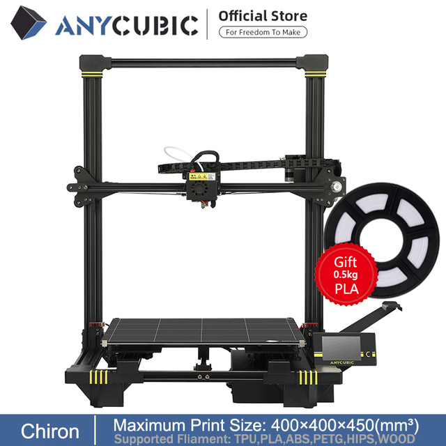 ANYCUBIC Chiron Newet 3D Printer kit With Clips Plus Size Ultrabase Extruder Screen Dual Z Axisolor Updated Impresora 3d Drucker