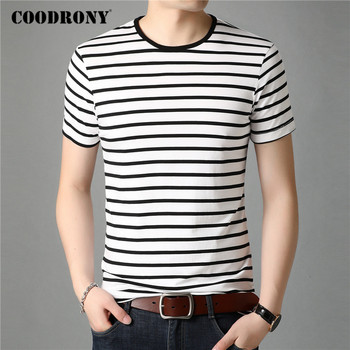 COODRONY Short Sleeve T Shirt Men Streetwear Fashion Striped Tops Casual O-Neck T-Shirt Man Summer Cotton Tee Shirt Homme C5085S embroidered striped sleeve tee