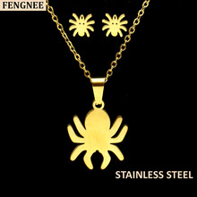 fengnee Gold Color Stainless Steel Sets For Women spider  Necklace Earrings Jewelry Set Wedding Jewelry gold color stainless steel jewelry sets romantic wedding earrings necklaces for women crystal and opal jewelry
