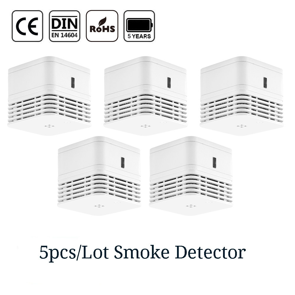 CPVan 5pcs/Lot Wireless Fire Detector EN14604 CE Certified 85dB Loud Alarm Smoke 5 Yr Smoke Alarm Photoelectric Sensor Detector