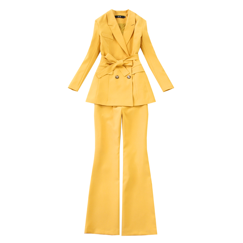 High Quality Ladies Blazer Pants Suits Two-piece Office Workwear 2020 Spring And Autumn Elegant Women's Jacket Flared Trousers