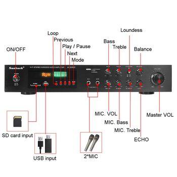 Усилитель мощности SUNBUCK AV-628BT, Количество каналов: 5 (4.1), Bluetooth 2