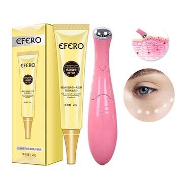 1 Set Women Anti-Aging Eye Serum Cream Firming Nourish Eye Cream Pen Type Vibration Eye Massager Machine Dark Circle Removal