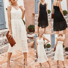 Sexy Lady Dress Solid Color V-Neck Hollow Lace Patchwork Dress Retro Beach Long Dress(China)