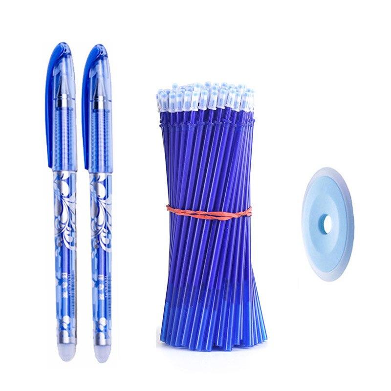 50+3pcs Erasable Pen Set 0.5mm Washable Handle Magic Erasable Gel Pen Refills Rod Blue Black Ink Pen Students Kawaii Stationery 2