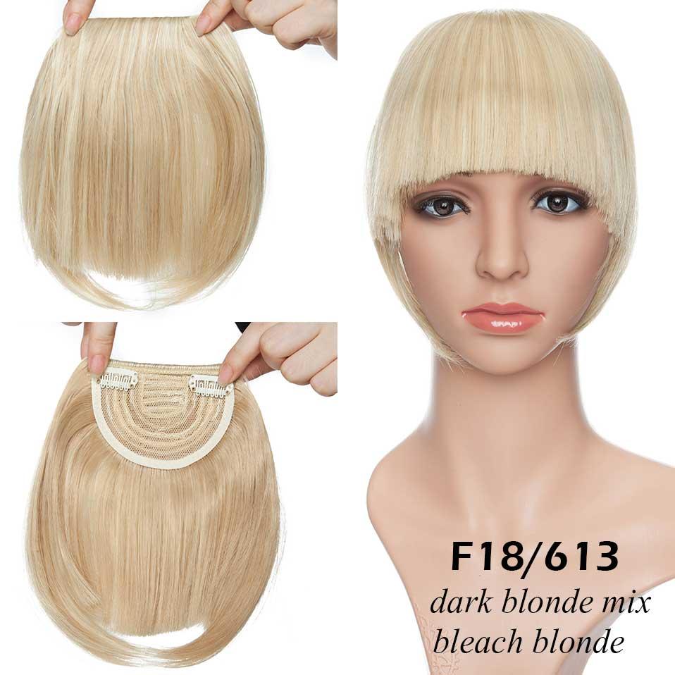 SNOILITE короткие передние тупые челки Клип короткая челка волосы для наращивания прямые синтетические настоящие натуральные накладные волосы - Цвет: 18-613