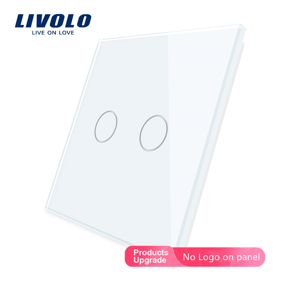 Livolo Luxury White Pearl Crystal Glass, EU Standard, Single Glass Panel For 2 Gang  Wall Touch Switch,VL-C7-C2-11 (7 Colors)