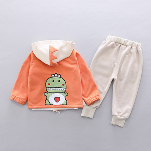 Image 2 - Toddler Clothes Kid Baby Boys Hooded Jacket T Shirt Clothing Sets 3PCS/Set Cotton Infant Children Outwear Boys 1 2 3 4 Years