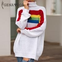 Genayooa Long Loose Vogue Knit Turtleneck Sweater Long Pink Sweater Women Cashmere Sweaters Pullovers Rainbow Jumper Winter