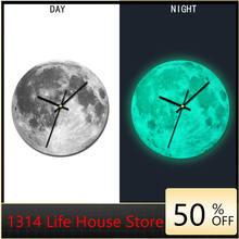 Творческий Световой настенные часы 30 см ночной Светильник Луна