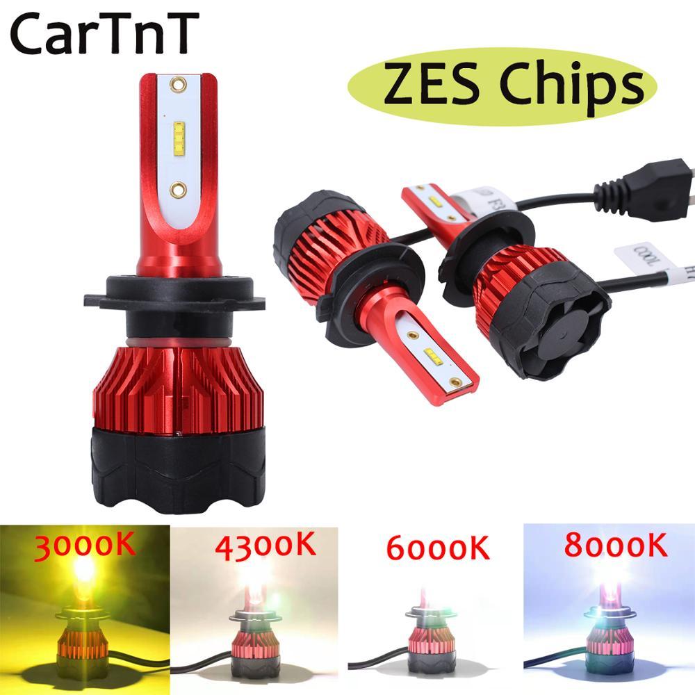 CarTnT 2PCS LED H7 H4  Car Headlights H1 H3 H11 9005 HB3 9006 HB4 9004 9007 880 LED Bulb 72W 3000K 4300K 6000K 8000K LED Light
