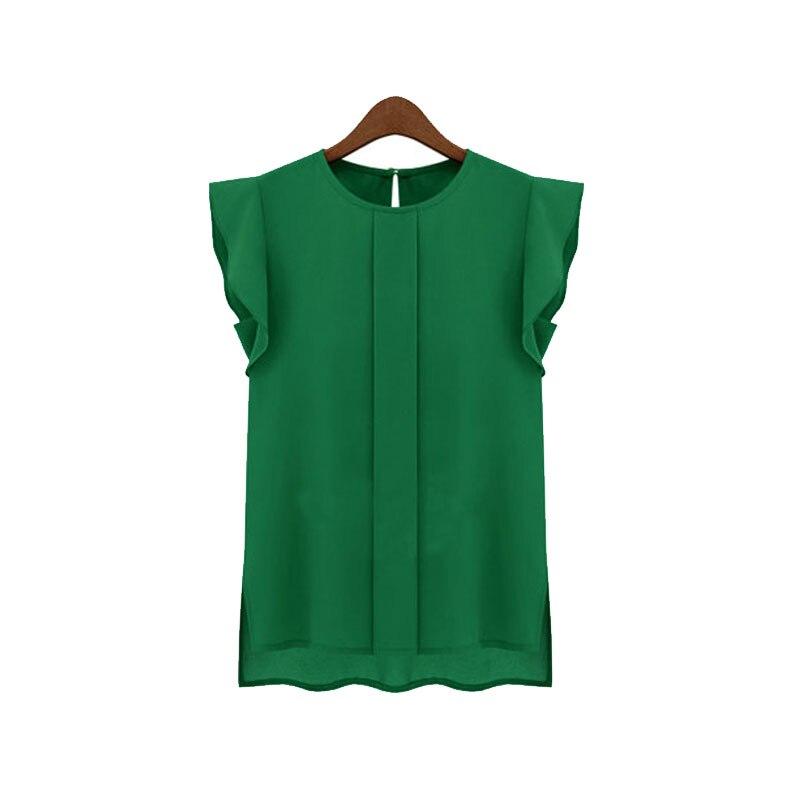Lady Women Chiffon Tops Ruffle Sleeve Vest Crew Neck Loose Summer Blouse Rk #E