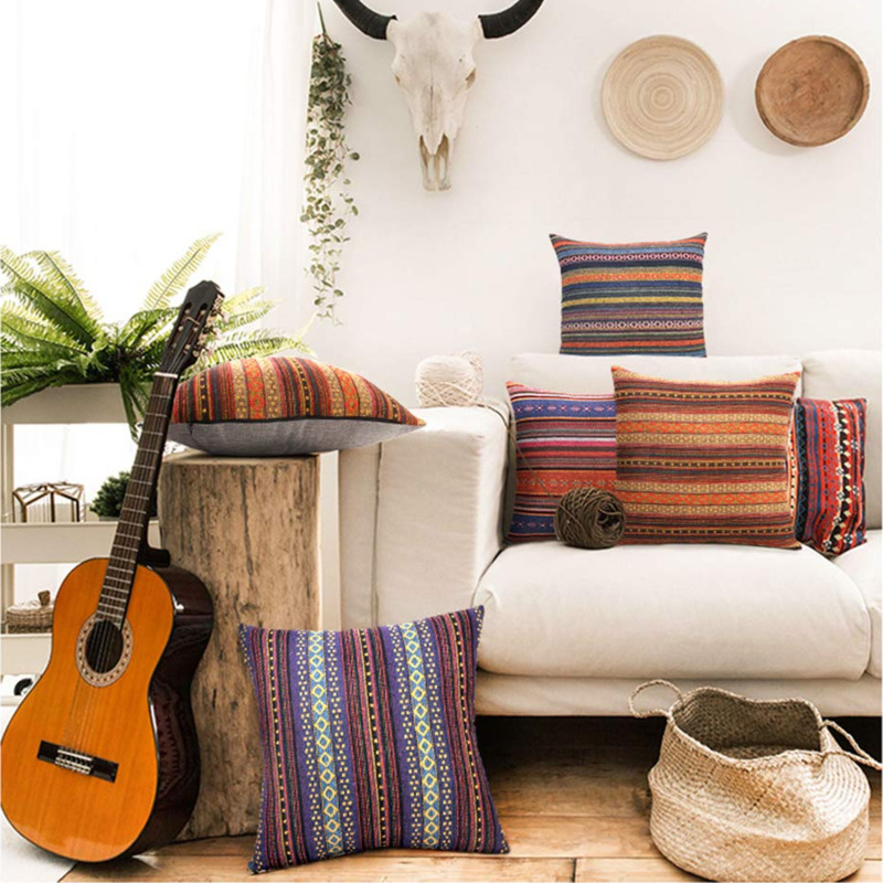 Decorative Pillows Bohemian Retro Stripe Throw Pillow Cover For Couch Sofa Bed, Set Of 4 Blend Linen Cushion Cover