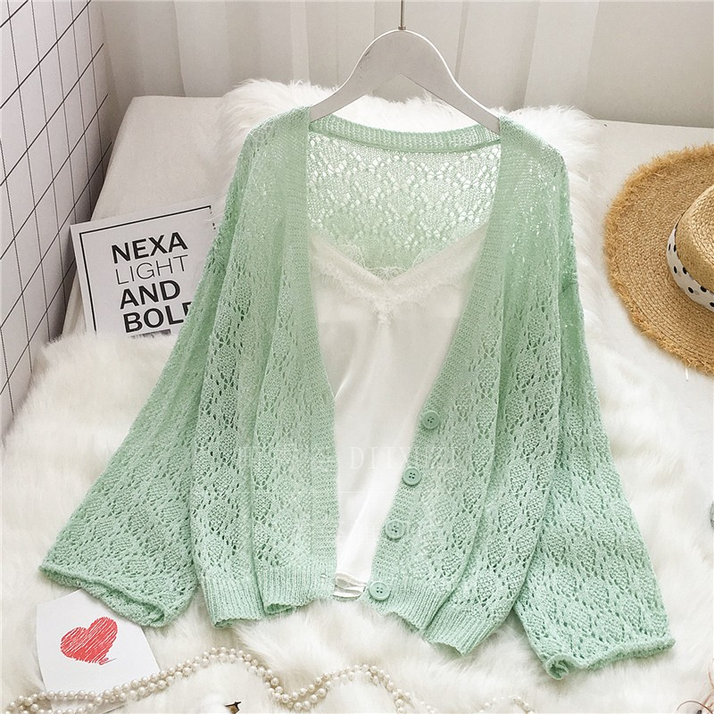 Loose Knitted Hollow Out Cardigans Women Fashion Knitting Summer Open Stitch Female Plus Size Ladies Cardigan Sweaters Femme
