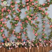 Flores artificiales rosas de 230cm de longitud de 16 A 69 flores para un arco de flores de boda guirnalda romántica rosa en cúpula de cristal