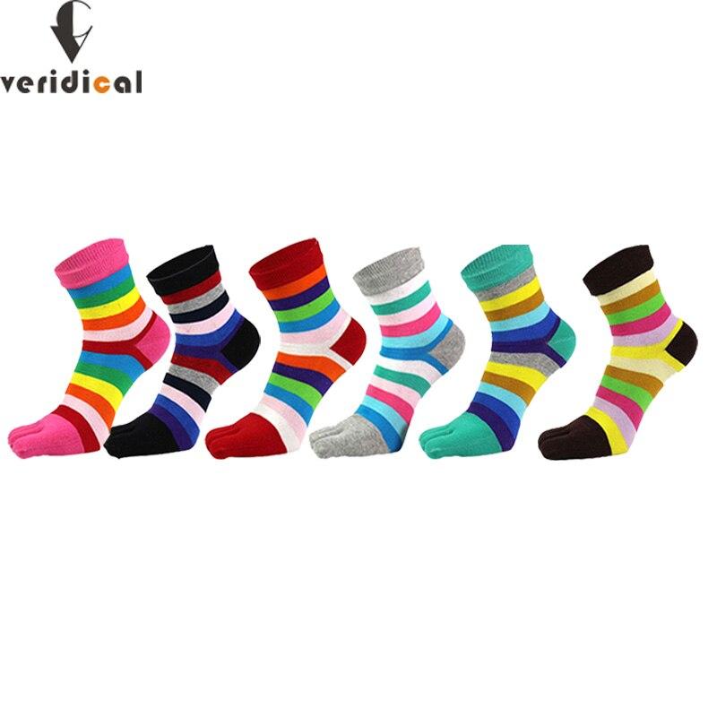 VERIDICAL 5 пар / лот, женские носки в яркую полоску, хлопковые носки в радужную полоску, повседневные милые женские носки с пятью пальцами