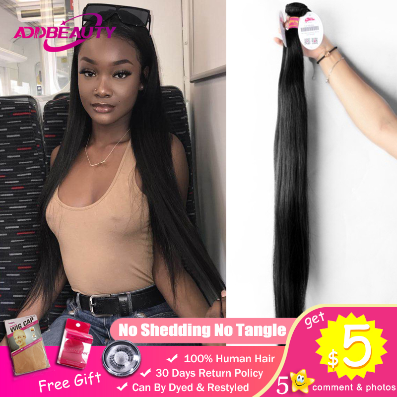 30 44 Inch Longer Length Raw Brazilian Unprocessed Virgin One-Donor Human Hair Extension High Ratio Double Drawn Bundle Straight