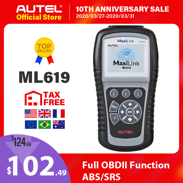 Autel Maxilink ML619 OBD2 Scanner ABS SRS CAN OBDII OBD 2 Code Reader Car Auto Diagnostic Tool PK AL619 Free Update Lifetime