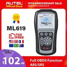 Сканер OBD2 Autel Maxilink ML619, ABS SRS CAN OBDII OBD 2 считыватель кодов, автомобильный диагностический инструмент, PK AL619 бесплатное обновление, срок службы