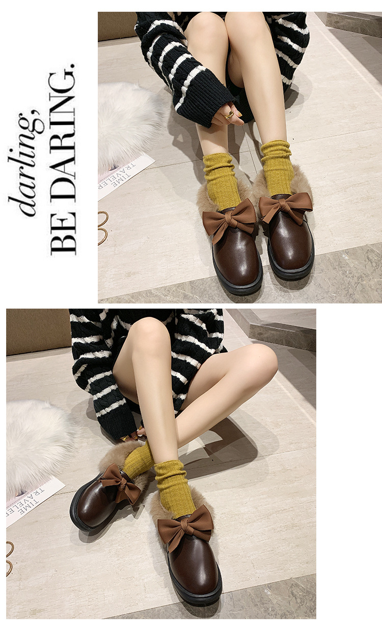 2019 winter long plush warm fur shoes bow tied decorate slip-on leather bullock shoes woman anti-skid chunky leisure espadrilles 53