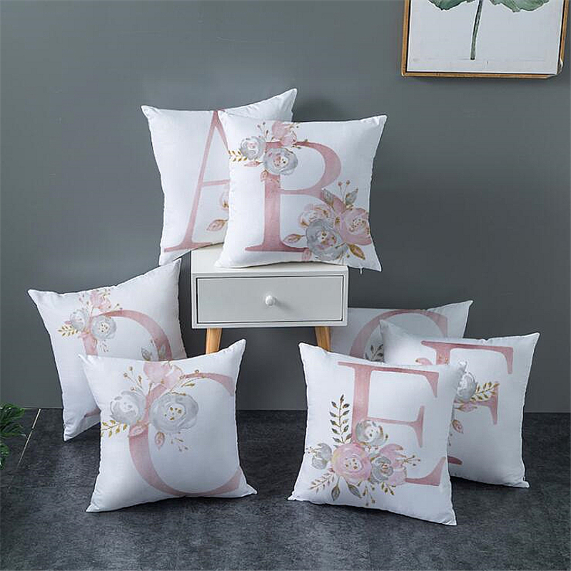 A-Z Fashion Square Ins Sofa Bed Plush Pillowcase LETTER LOVER Flower Printed Print Pattern Modern Pillow Seat Cushion