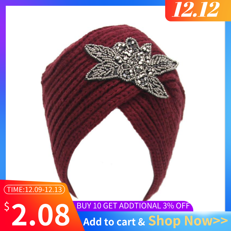 Helisopus Winter Warm Crochet Caps Braided Turban Headdress Female Cap Winter Women Hats Knitting Wool Knit Hat
