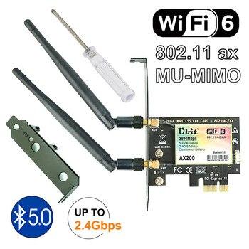 Ubit Bluetooth 5.0 | 2.4Gbps Pcie carte Wifi Gigabit double bande carte réseau Wifi 6 AX200 adaptateur sans fil pour pc de bureau Windows