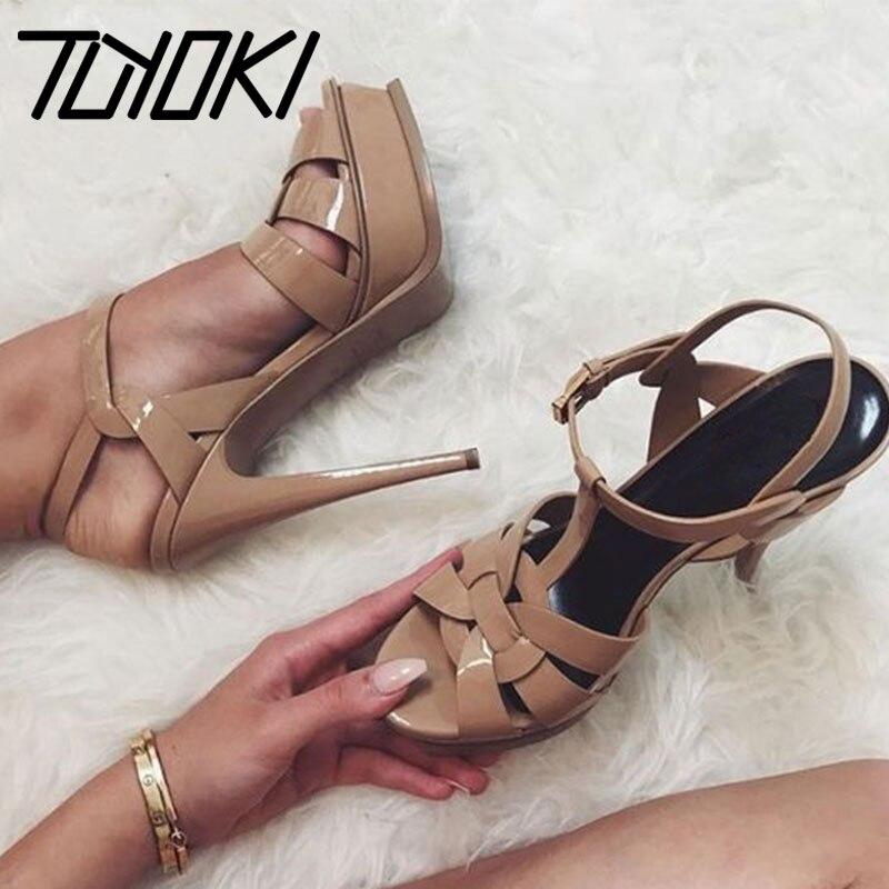 Tuyoki talons hauts sandales femmes en cuir véritable plate-forme femme chaussures Roman Sexy mode mariage chaussures dames offre spéciale 33-40