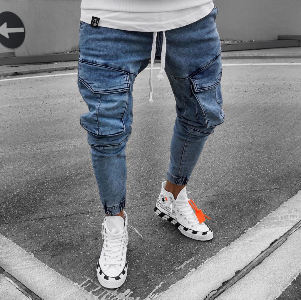 Mens Jeans With Side Pockets  Denim Men Trouser New Slim Fit Jeans Men Slim Elastic Waist Pants Calca Motociclista
