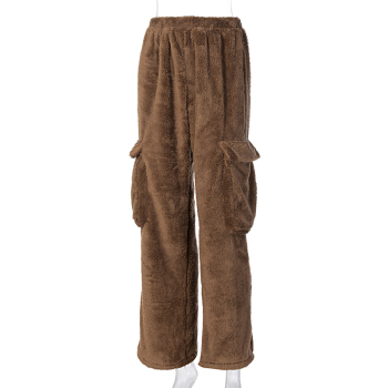 Dulzura lambswool teddy faux fur coat outwear wide leg pants pocket loose oversized streetwear autumn winter matching 9