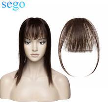 SEGO человеческие волосы на клипсе, невидимая челка, бразильские светлые волосы, не Реми, замена, наращивание волос