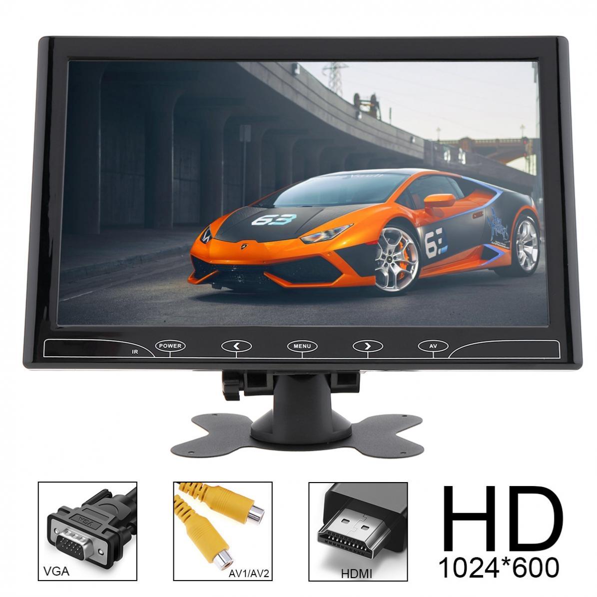 10,1 дюймов 16:9 HD 1024*600 TFT lcd цветной автомобильный монитор заднего вида 2 видео вход DVD VCD подголовник Автомобильный монитор аудио HDMI VGA