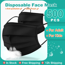 Black Disposable Medical Mask Adult Kids Non woven 3 Layers Filter Anti Dust Breathable Gauze Surgical Mask Children Mouth Mask