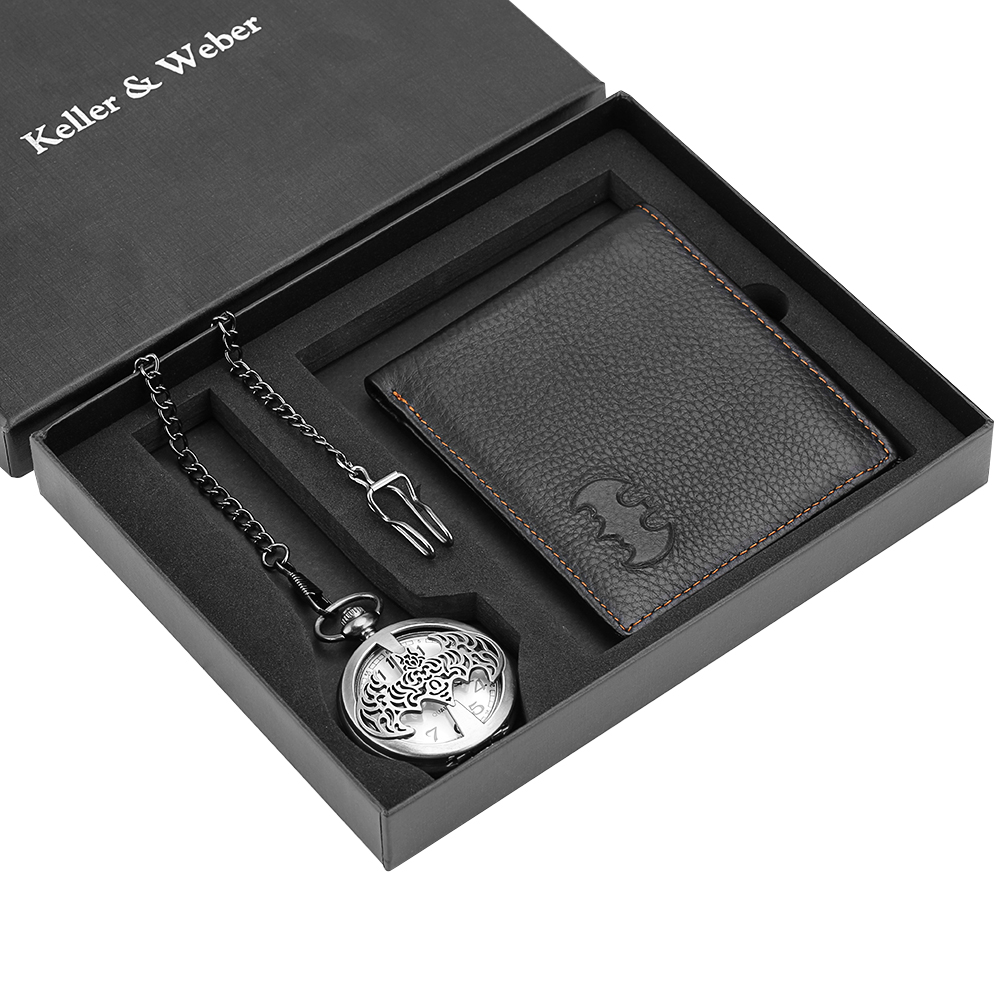 Men's Pocket Watch Wallet Set Business Leather Wallet For Male Fashion Quartz Pendant Steampunk Watches Husband Christmas Gifts