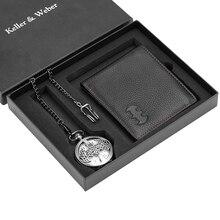Мужские карманные часы бумажник установить деловой кожаный для мужчин мода кварцевые кулон стимпанк часы мужа рождественские подарки