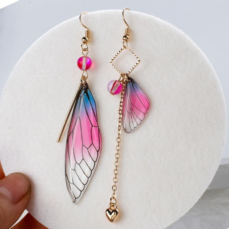 Aensoa temperamento fada longo borla brincos assimétricos asas de borboleta brincos de gota gradiente cor brinco jóias de noiva