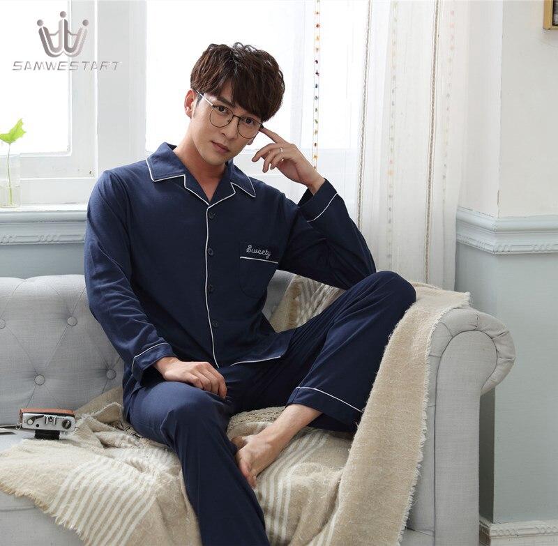 SAMWESTART Men's Stain Silk Pajama Sets Atumn Men Pajamas Nightwear Men Sexy Modern Cardigan Style Navy Solid Color Sleepwear